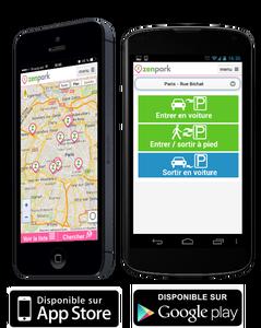 Photos de la nouvelle application zenpark sur mobile