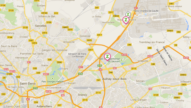 Carte des parkings Zenpark Roissy