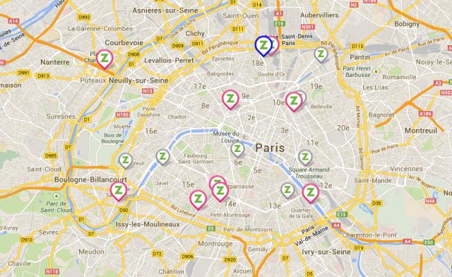 Carte avec les parkings Zenpark