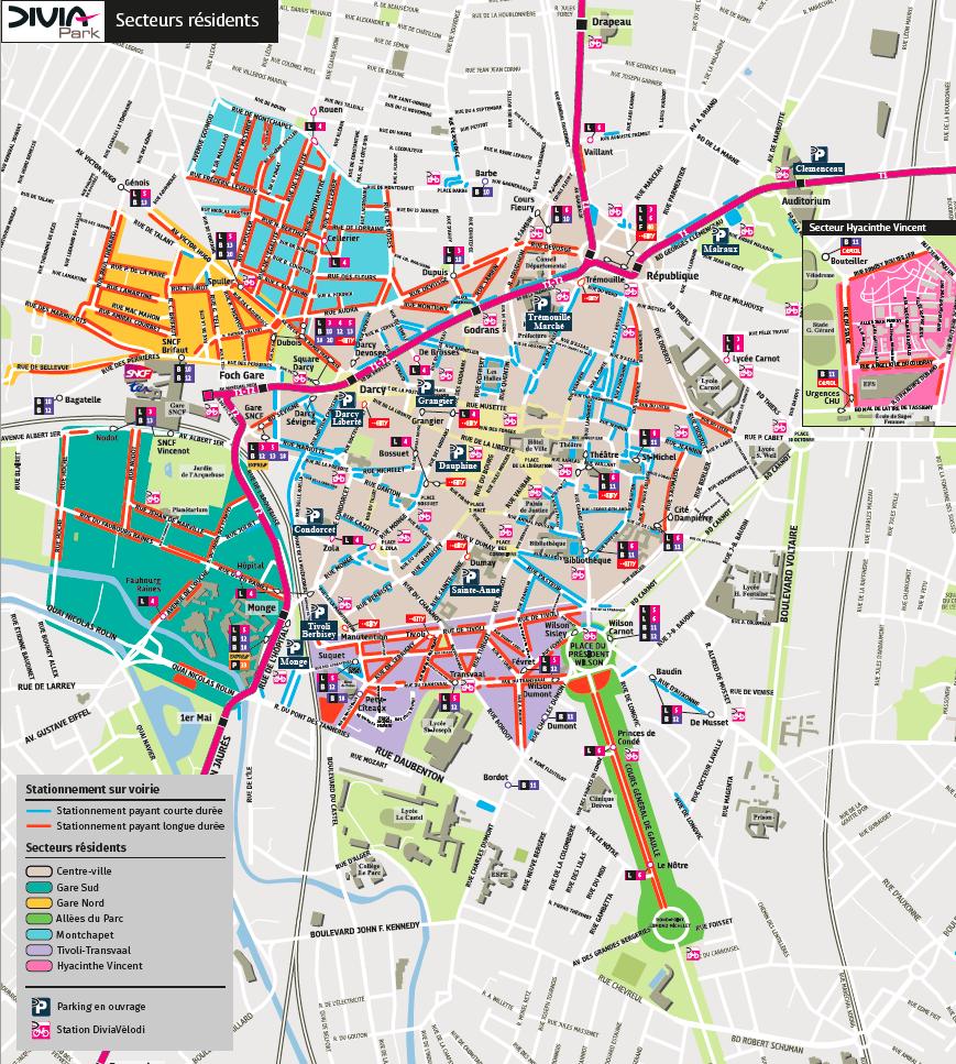 Stationnement en voirie à Dijon : les différentes zones